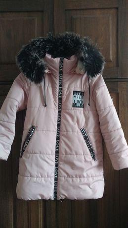 зимова куртка для дівчинки+шапка з вушками