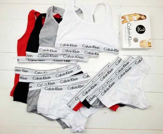 Набор женского белья 3 в 1 стринги, топик, шорты Кельвин Кляйн