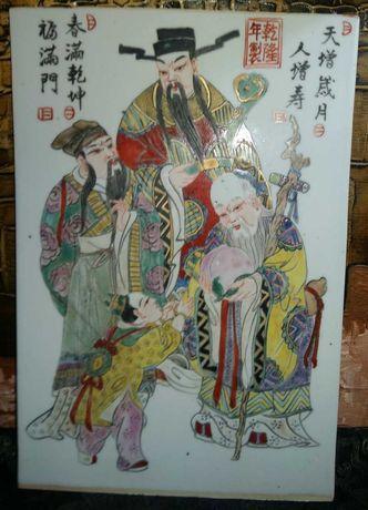 Grande Placa em porcelana Chinesa. Pintura manual dos Sanxing,