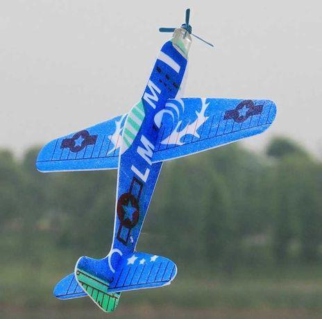 Самолет планер с пропеллером 19 см,материал пена,новые в упаковке