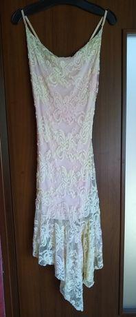 Sukienka róż + ecru rozmiar S