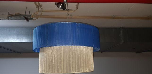 Candeeiro Azul e Creme Organza com fio e bucal de ligação em Inox