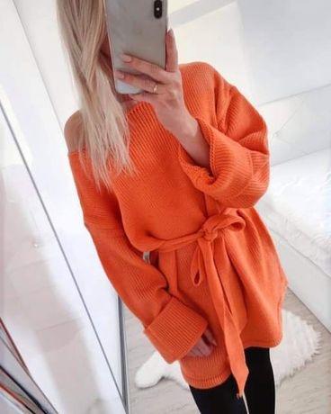 Pomarańczowy sweter oversize XS S M modny ciepły jesień gruby