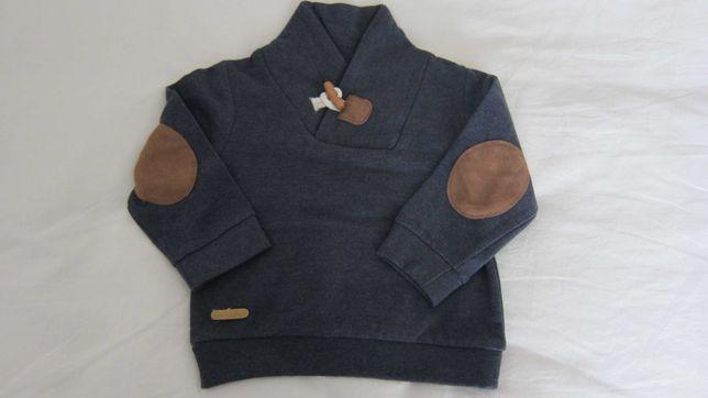Camisola Azul Cardada  menino 6-9 meses