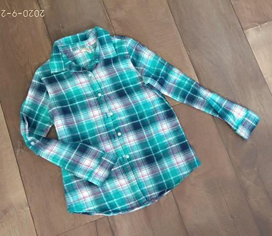 Рубашка клетка для девочки 7-8лет 122-128см