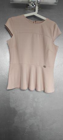 Bluzka baskinka pudrowy róż. L