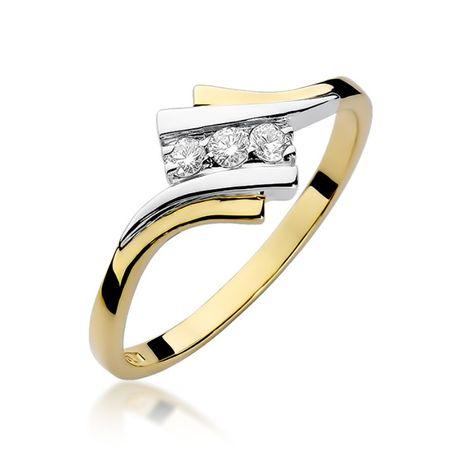 Złoty pierścionek z brylantami Jubiler Goldrun 0,090ct