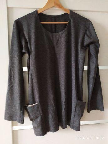 Bluzka, sweter ciemno szary z długim rękawem z kieszeniami, rozm. S/M