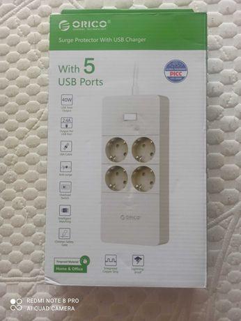 Электрический удлинитель ORICO/4 Евро розетки/5 портов USB/Цвет белый