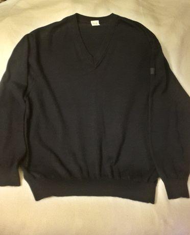Sweter wełna z kaszmirem biznesowy v-neck granatowy