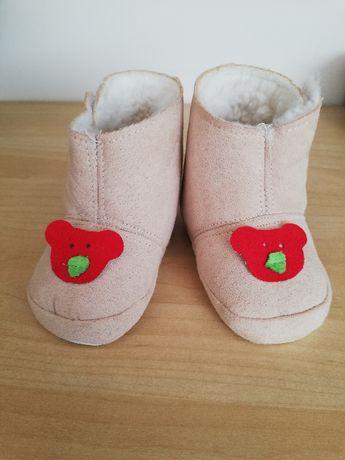 Buty buciki niechodki beżowe z ociepleniem
