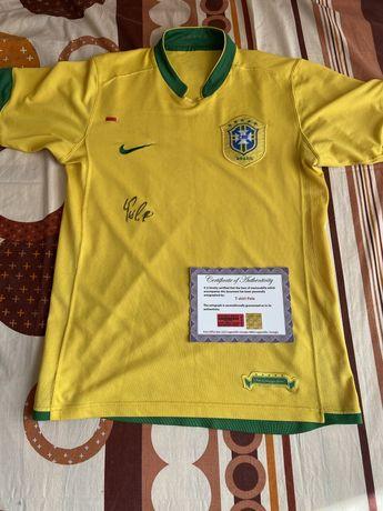 Koszulka Brazylia Pele oryginalny autograf Certyfikat