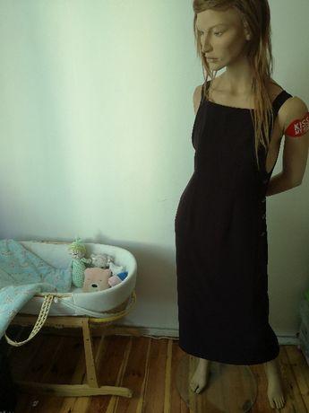 Sukienka ogrodniczka śliwka ciemny fiolet brąz next 40 L długa