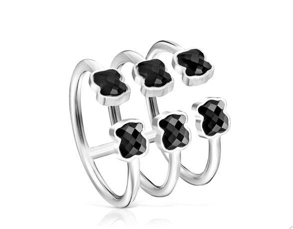 Tous nowy oryginalny pierścionek mini onix r.14 srebro 925