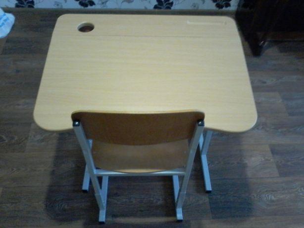 Парта МДФ+стул.Регулировка высоты,наклон,полка,стакан для ручек,крючек