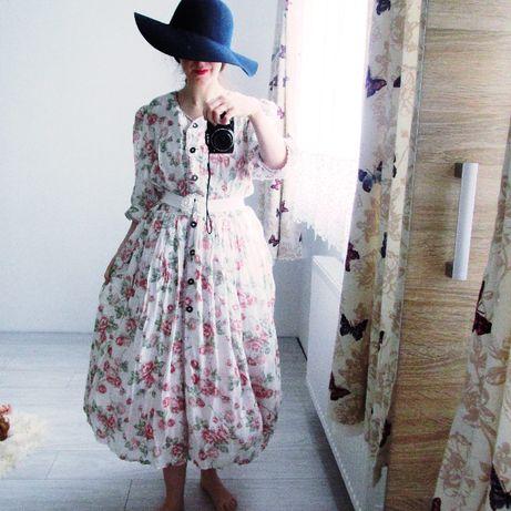 sukienka retro real vintage 80s angielskie róże bufki koronki l xl