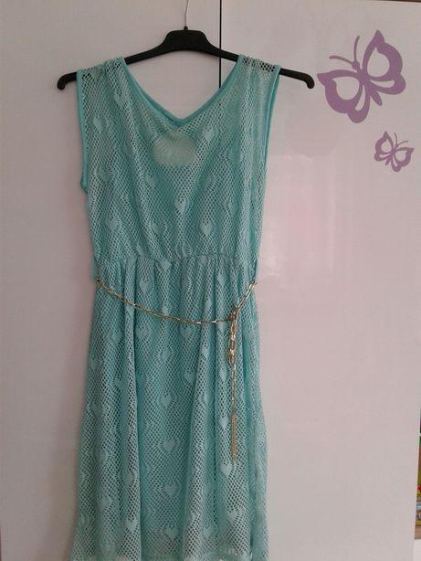 sukienka koronkowa miętowa m
