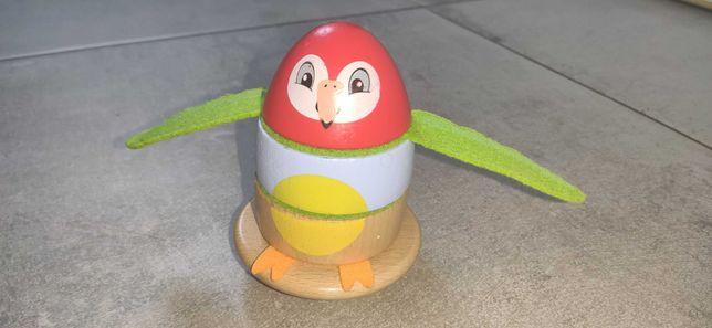 Papuga drewniana zabawka, układanka, klocki