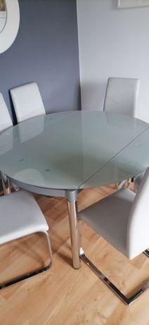 Stół szklany rozkładany z krzesłami