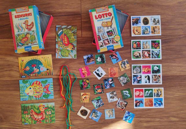 Dwie gry Granna: sznurki i dziurki + lotto misie i rysie zestaw