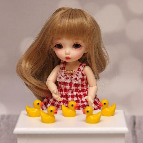 Akcesoria dla lalek BJD mini kaczuszki zestaw 5szt żółte