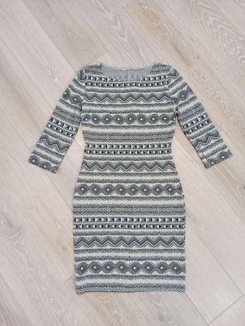 Szaro-czarna krótka sukienka New Look
