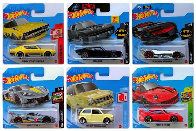 Hot wheels Porsche Honda Corvette Batmobile Batman Nissan