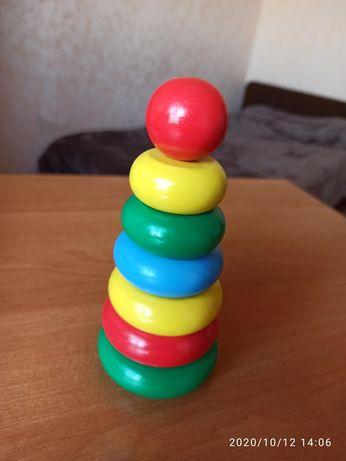 """Безопасная красочная пирамидка, """"Краснокамская игрушка""""Монтессорри"""
