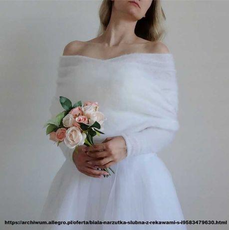 Narzutka ślubna z rękawami, rozmiar XS
