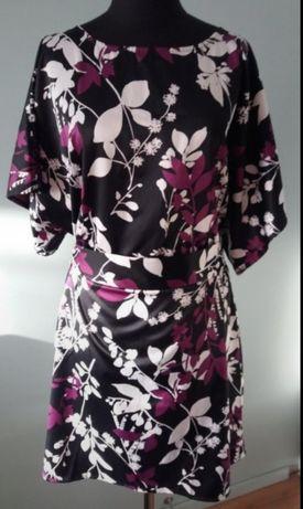 TUNIKA satynowa, sukienka oversize, rękaw kimonowy, nietoperz, Nowa