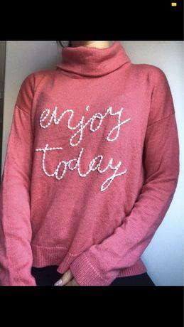 Różowy sweter golf XS 34 Tom Tailor