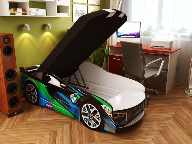 Кровать машина седан с матрасом SPACE SUPER CAR с подсветкой + Подарок