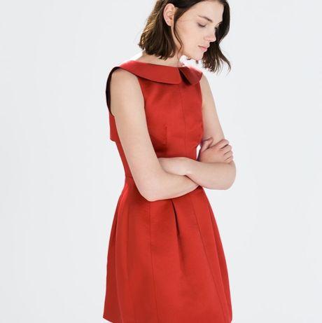 Sukienka Zara z kołnierzykiem tulipan czerwona rozm. S