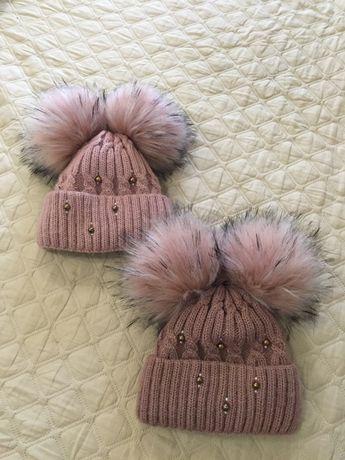 Тёплая шапка зима для двойни