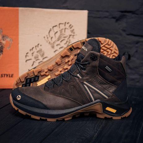Мужские зимние кожаные ботинки MERRELL Brown