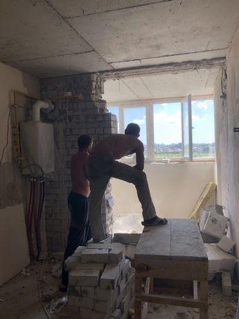 Демонтаж дверей, окон, стяжки, плитки, штукатурки,