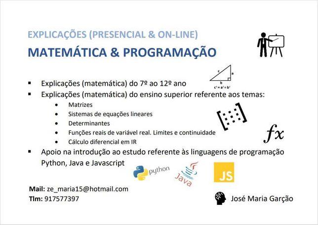 Explicações de Matemática e Programação