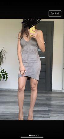 Nowa missguided sukienka metki zamszowa szara asymetryczna xs 34 dopas