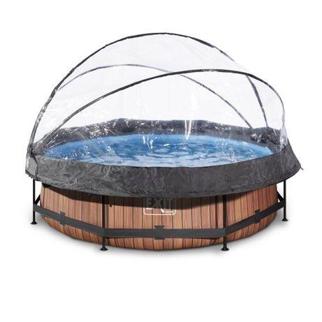 Basen EXIT WOOD BRĄZ okrągły 300 cm składany dach kopuła + pompa
