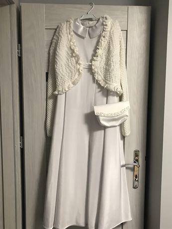 Zestaw komunijny (sukienka, sweterek, wianek, torebka, rekawiczki)