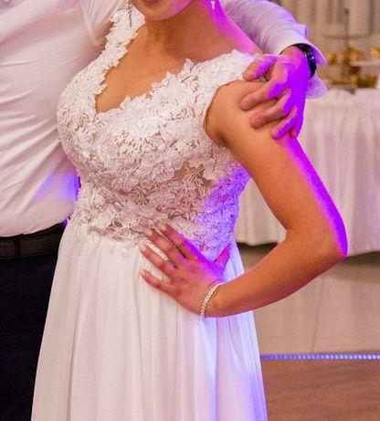 Suknia ślubna muślin koronka