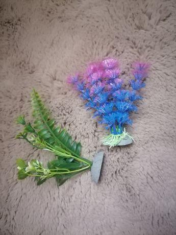 Dwie sztuczne roślinki do akwarium