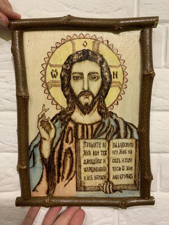 Икона Исус Христос/ручная работа/вижигание по дереву,фанера
