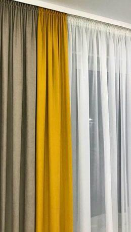 Шторы желтые серый разные цвета готовые в наличии микровелюр лен софт