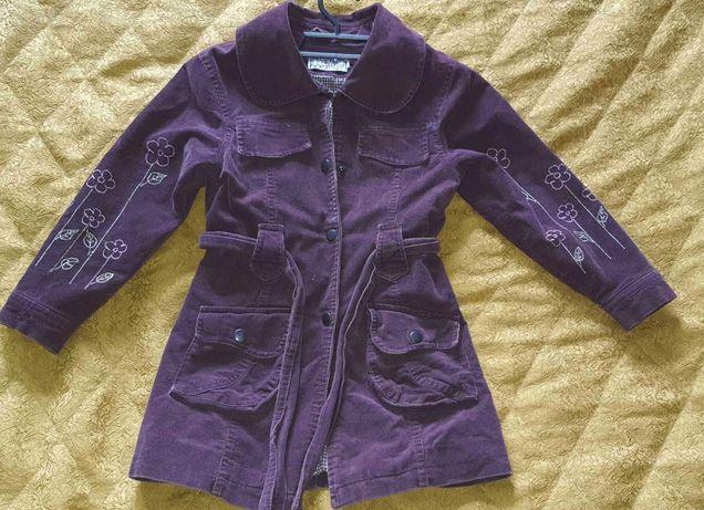 Дитяче вельветове пальто для дівчинки БОРДО 92-98-104см Б/У