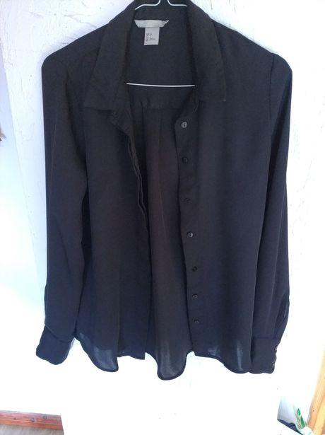 Koszula czarna h&m 34 długi rękaw elegancka