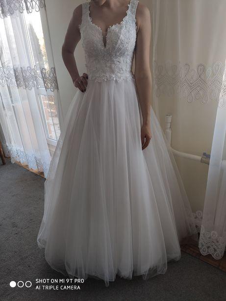 Suknia ślubna (biel) 168+8cm góra rozmiar 36