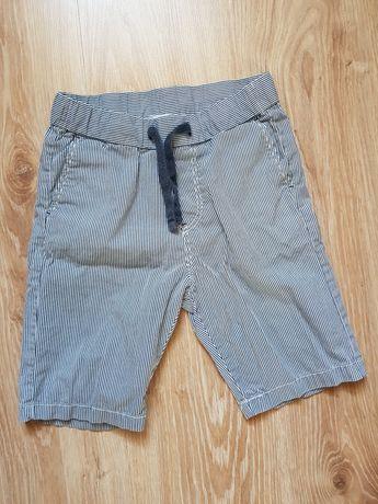 H&M krótkie spodenki szorty chłopięce granatowe paski 122