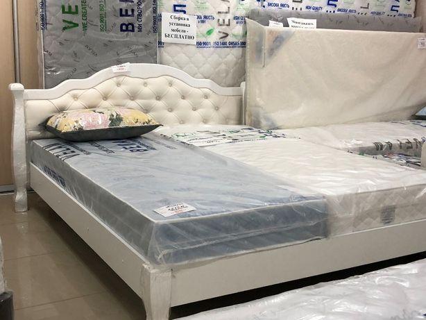Кровать дерево белая 2,0*1,6, матрас
