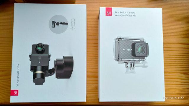 Zestaw kamera sportowa Yi 4k+ (plus), gimbal, karta pamięci, bateriex4